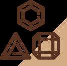 Ícone de três pedras preciosas